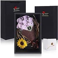 シャボンフラワー フレグランス ソープフラワー バラの花 カーネーション 創意ギフトボックス 誕生日 忘年会 入学 卒業 母の日 父の日 先生の日 バレンタインデー 記念日 (7本 ライトパープル)