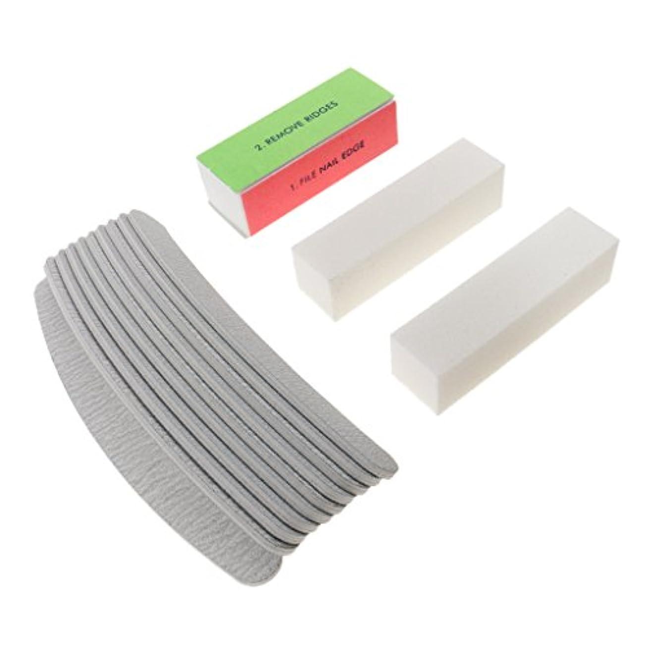 買い物に行くスカーフ拳DYNWAVE ネイルアートチップ研磨用13個の4つのスタイルのサロンネイルファイルサンドバッファ - Cグレー