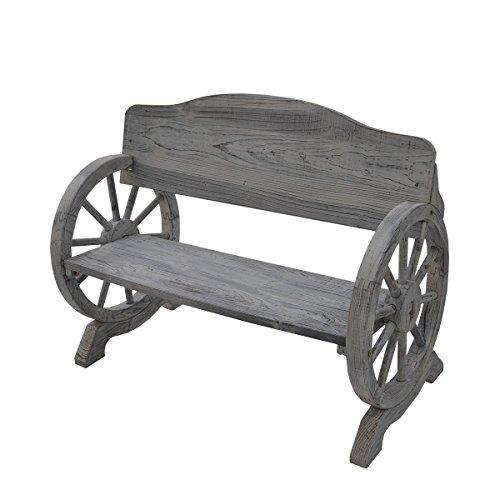 ウッドホイール風車輪付木製ベンチ