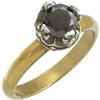 [バズショット]ブラックキュービック シルバー クロス クラウン ブラスリング 指輪
