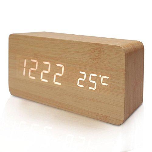 FiBiSonic® デジタル LED 目覚し時計 置き時計 アラームクロック 多機能 音声感知 温度計 USB給電 木目調 おしゃれ インテリア プレゼント (茶色・白字)