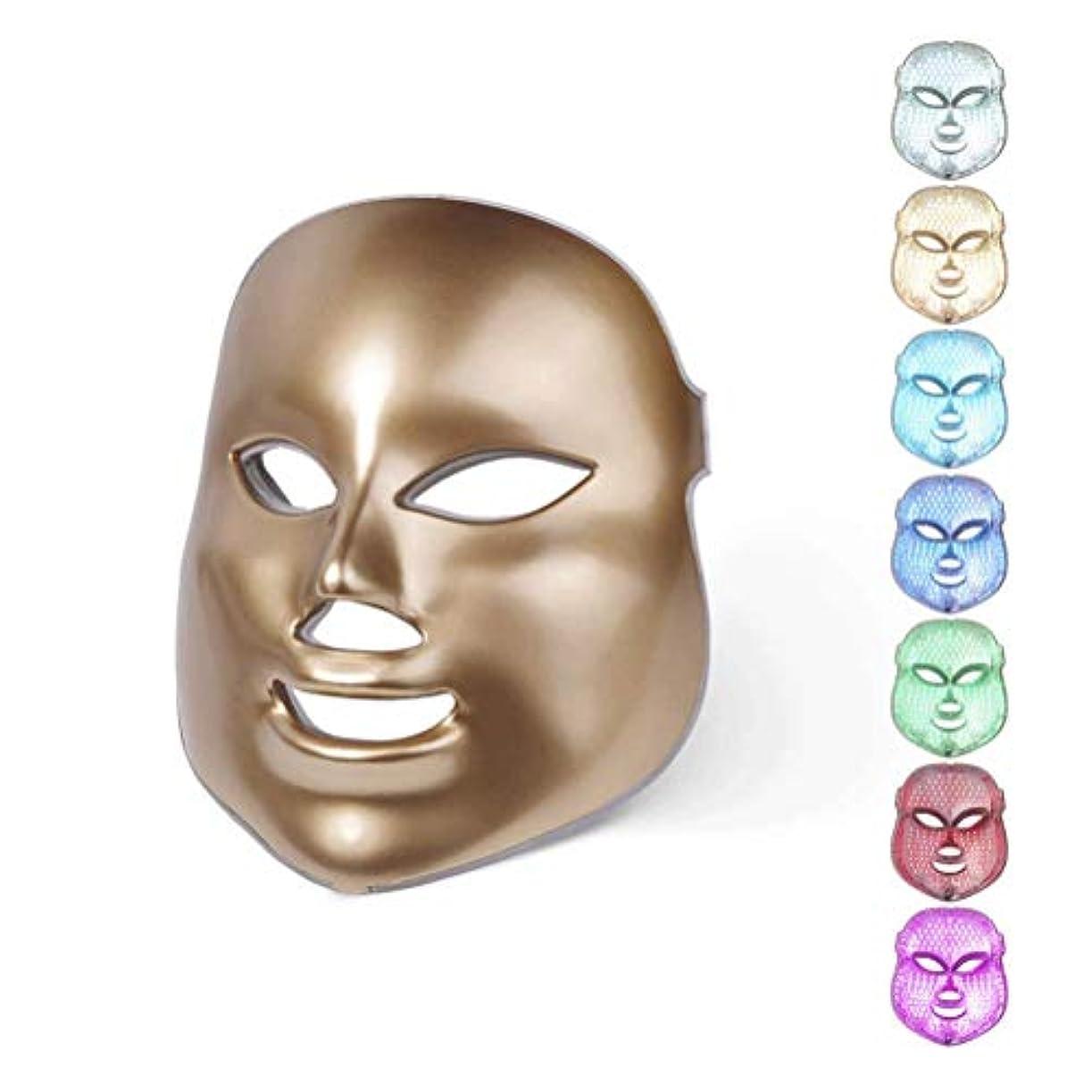 けがをする辛い下線7カラーライトセラピーフェイスマスクは、LEDライトフェイスフォトンは、にきび削減リンクル肌の若返りのために毛穴スキンケアセラピー?フェイシャル美容サロンPDT技術を締めマスク