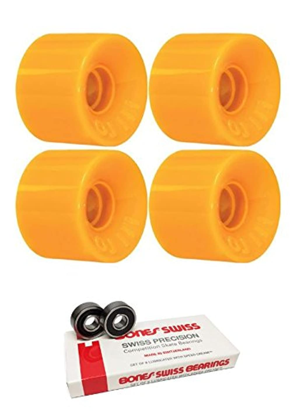 大砲くるみ負55 mm OJ Wheels Hot Juice MiniスケートボードWheels with Bones Bearings – 8 mm Bones Swiss Skateboard Bearings – 2アイテムのバンドル