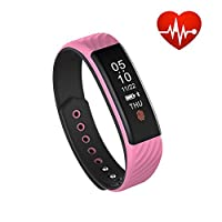 businda Smart Fitness TrackerアクティビティFitness Tracker with Heart Rate Monitor歩数計睡眠トラッカーfor iOS Android電話 ピンク
