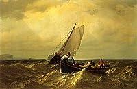手描き-キャンバスの油絵 - Fishing Boats on the Bay of Fundy 船 シービューペインティング RSSP2 William Bradford 芸術 作品 洋画 -サイズ02