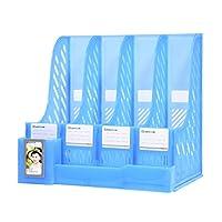 マガジンファイルラックホルダー 4コンパートメント メッシュ プラスチック 自宅 オフィス デスクブック 分類ストレージシェルフ ペーパーマガジン書類や本用 ブルー