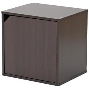 不二貿易 キューブボックス 扉付き 幅34.5cm 組換え自由 ブラウン 81906