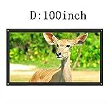 プロジェクター スクリーン (取り付けのツール付き) インチ ポータブル16:9 HD 壁掛け 投影スクリーン ホームシアター PPTプレゼンテーション 会議 教室 適用 (D 100inch)