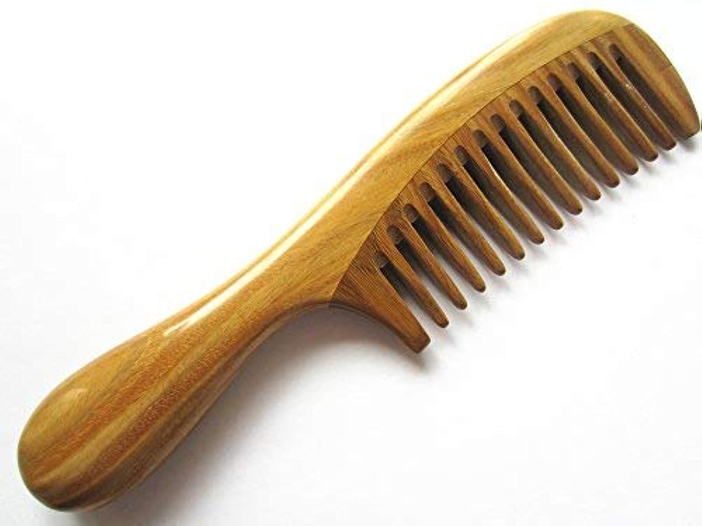 ケーブルカーバスタブ区別Myhsmooth Gsp-yb Wide Tooth Wood Handmade Natural Green Sandalwood No Static Comb with Rounded Handle with Aromatic...