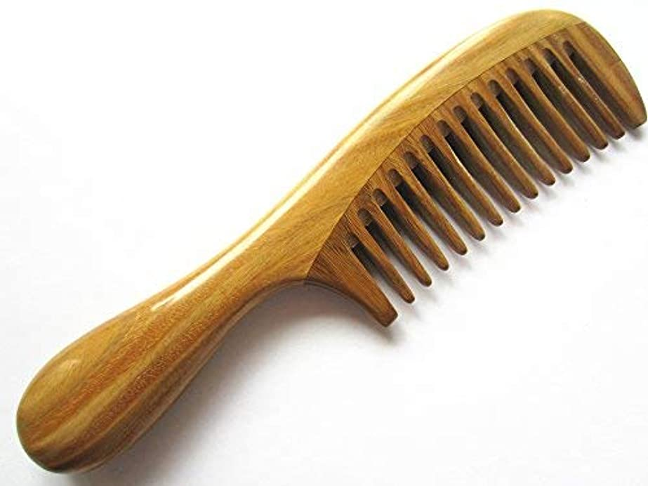 電話するシンポジウム野望Myhsmooth Gsp-yb Wide Tooth Wood Handmade Natural Green Sandalwood No Static Comb with Rounded Handle with Aromatic...