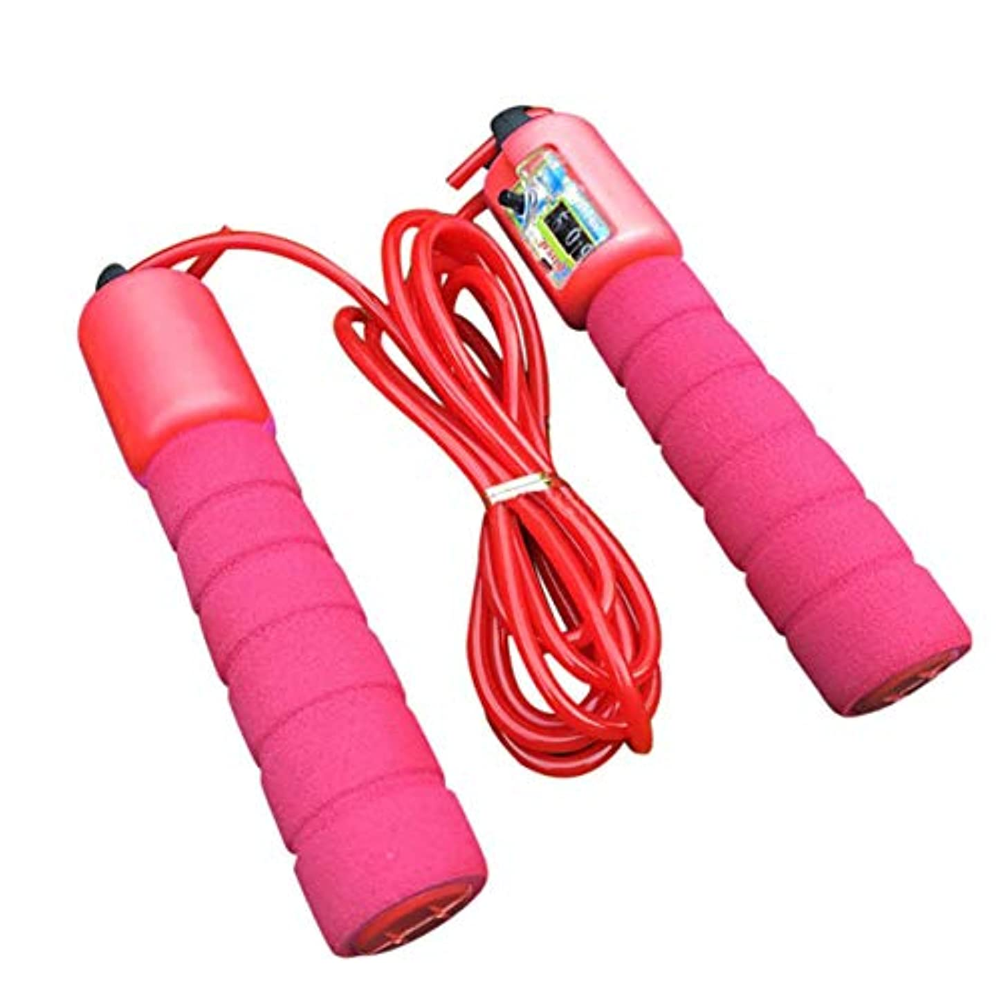 レインコートエミュレートするヒール調整可能なプロフェッショナルカウントスキップロープ自動カウントジャンプロープフィットネス運動高速カウントカウントジャンプロープ-赤
