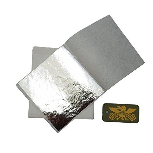 銀箔 フェイク シルバー 100枚 シート 大量 セット 合金 銀ぱく メッキ 美術 工芸 趣味 ホビー 絵 装飾 銀 135mm