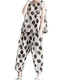 Feilei レディース スーツ 着やせノースリーブ ゆったり大きいサイズ ファッション 2点セット パンツスーツ