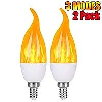 Cathedral ino E12フレーム電球 LED燭台電球 1.2ワット 温白色LEDシャンデリア電球 1800k 3モードキャンドル電球 炎の先端 ホワイト
