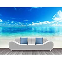 Lcymt 海ビーチ写真の壁紙青空白い雲壁壁画ステッカーリビングルームの壁紙3D自己接着ビニール/シルクの壁紙-400X280Cm