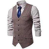 BMEIG Men Casual Waistcoat - Business Gent Slim Fit V Neck Jacket Vintage Tweed Check Single Breasted Formal Outerwear Top
