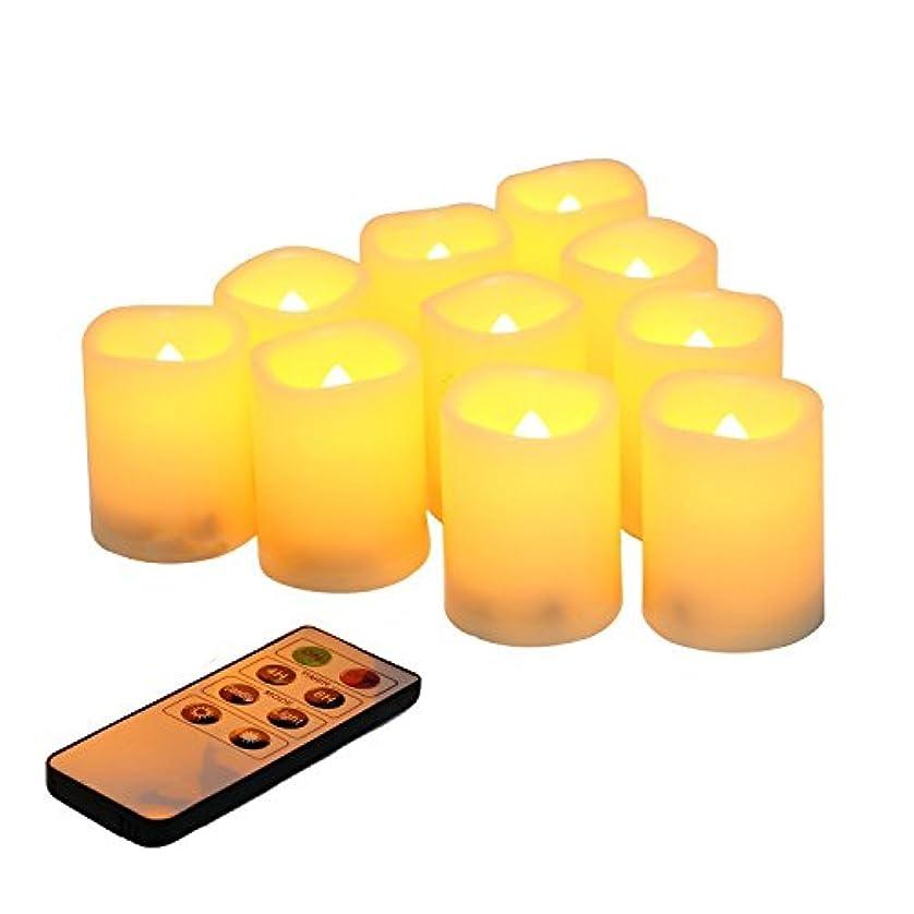 アルミニウム調和ユニークなVCU電池式flikering Flameless LED Votive Candles with 8-keyリモートタイマー、10のセット、2インチ