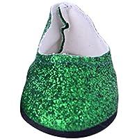 ノーブランド品  ファッション ドール ブリンブリン シューズ  18インチ アメリカンガールドール用 10色選べる - グリーン