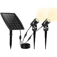 KEYNICE ソーラー LED ライト アウトドア スポットライト 太陽光パネル充電 ガーデンライト 防犯対策IP65防水 15メートル照明距離 光センサー 自動点灯/消灯 玄関先 庭 車道 歩道のライトアップに最適 ウォームホワイト