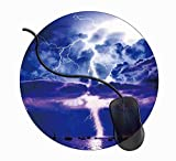 マウスパッド丸型 キーボードパッド デスクマット ゲーム 雷嵐 滑り止め 耐久性が良い マウス用パッドオフィス 1C1803