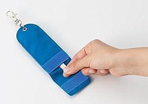 アスカ リール付き目隠しキーケース KCV01B ブルー 反射板つき