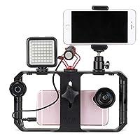 Foxsed-five スマートフォンビデオリグ、電話ビデオスタビライザーグリップ三脚マウントビデオカメラ用映画メーカーiPhone用のビデオグラファーiPhone 8プラス7 6 SEのサムスン (Color : ブラック)