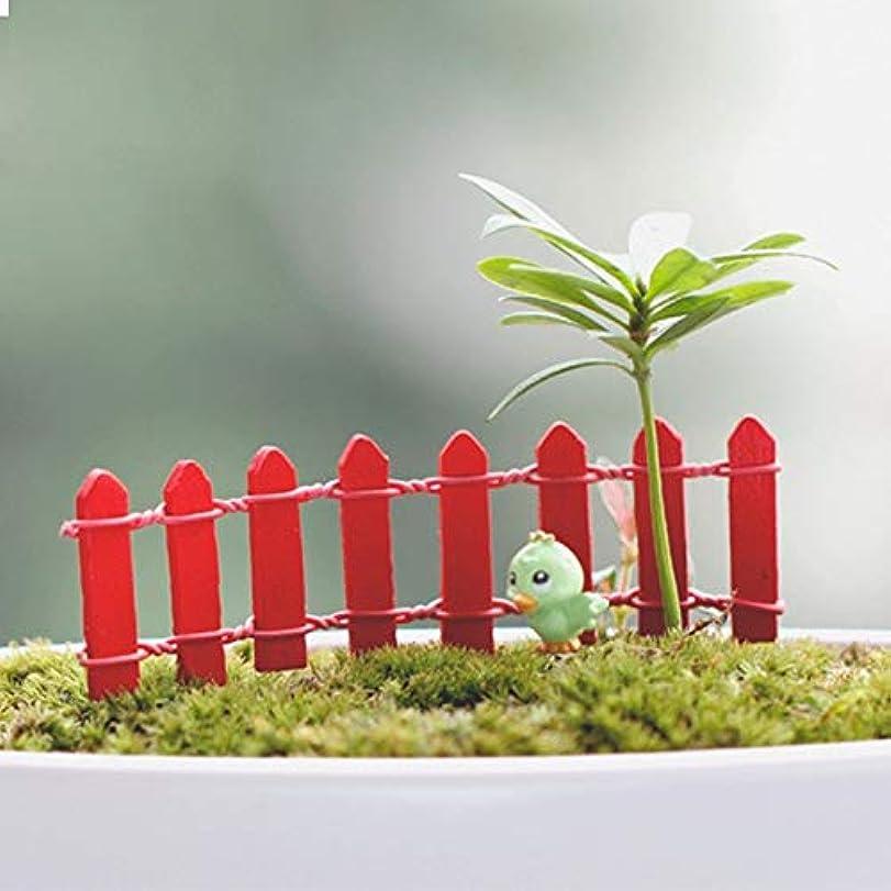 植木反発する同僚Jicorzo - 20個DIY木製の小さなフェンスモステラリウム植木鉢工芸ミニおもちゃフェアリーガーデンミニチュア[赤]