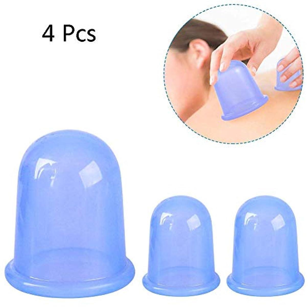 ライナー植物学ゴミシリコンカッピングセラピーセット、伝統的なマッサージカッピングサクションカップ、鍼治療キット健康治療(4個)