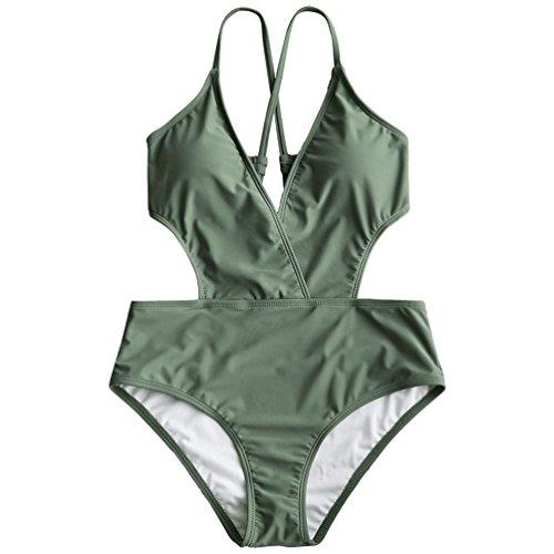 [해외]RUNACC 섹시 수영복 하이 웨스트 탄 키니 체형 커버 원피스 V 넥 크로스 백 육군 녹색/RUNACC Sexy Swimsuit High West Tankini Cover One Piece V-Neck Cross Back Army Green