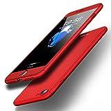 EC-MART iPhone8 ケース iPhone7 ケース 全面保護 強化ガラスフィルム 360度フルカバー Qi充電対応 衝撃防止 おしゃれ 高級感 薄型 携帯カバー 耐衝撃 (レッド)