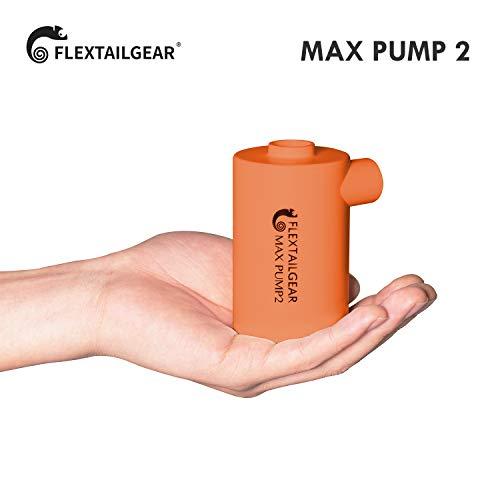 FLEXTAILGEAR - MAX PUMP 2 携帯式エアーポンプ 3600mAh電池USB充電式の最軽量ポンプ タッチパネルスイッチで急速な空気を入れること空気を抜くことができる エアーベッド、プール玩具、浮き輪、真空袋など(4つ種類のノズル付き) (オレンジ)