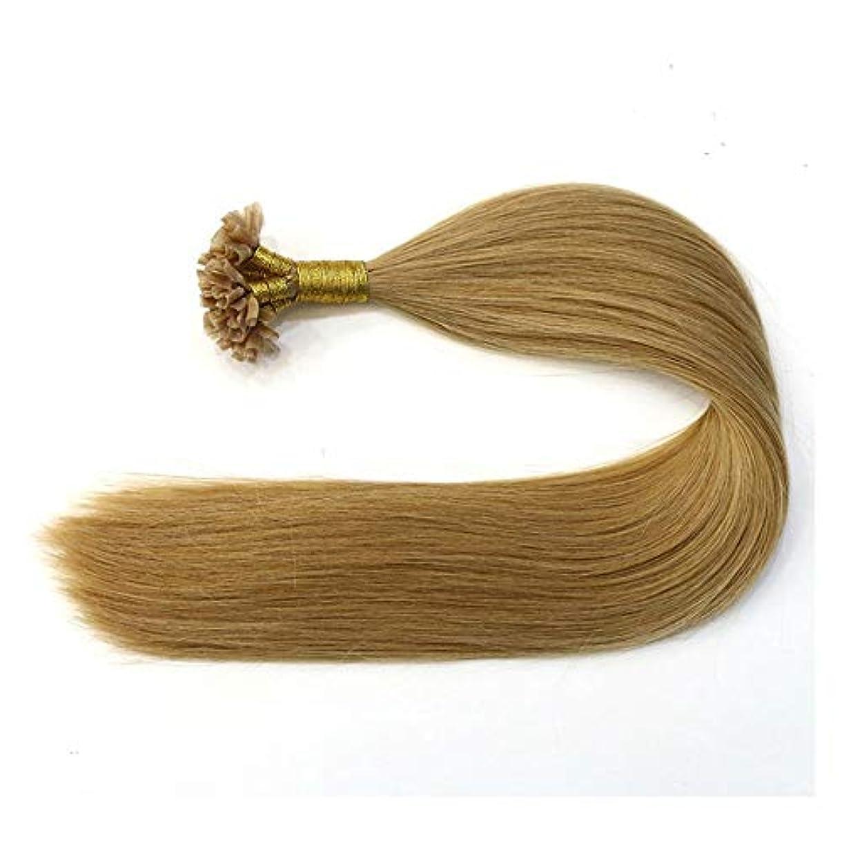 であるうつ放牧するJULYTER 100%本物の人間の髪の毛のナノリングヘアエクステンションブラウン100G /パックサテンストレートヘアエクステンションネイルチップヘア (色 : Photo color, サイズ : 18 inch)