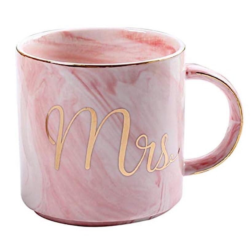 形式パネル赤ちゃんSaikogoods 愛好家のためのホームオフィスベストギフトのための美しいMarbelパターンセラミック水マグレタープリントコーヒーカップ ピンク