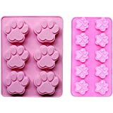 2 PACK Combo Mini & large Silicone DOG Pet Animal Paw Print Ice Cube Chocolate Soap Candle Tray Mould Party maker (Ships From USA)