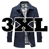 ( Make 2 Be )トレンチコート ビジネス カジュアル アウター レインコート メンズ コート MA04 (14.Navy 3XL)