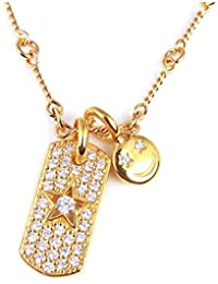 ジルコニア スマイル スター プレート チェーン ネックレス 星 80cm 金 ゴールド メンズ レディース ブランド bd-488