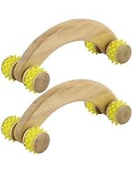 イエローDealMux木製家庭のストレスリリーフボディネックショルダー筋マッサージローラー2PCS