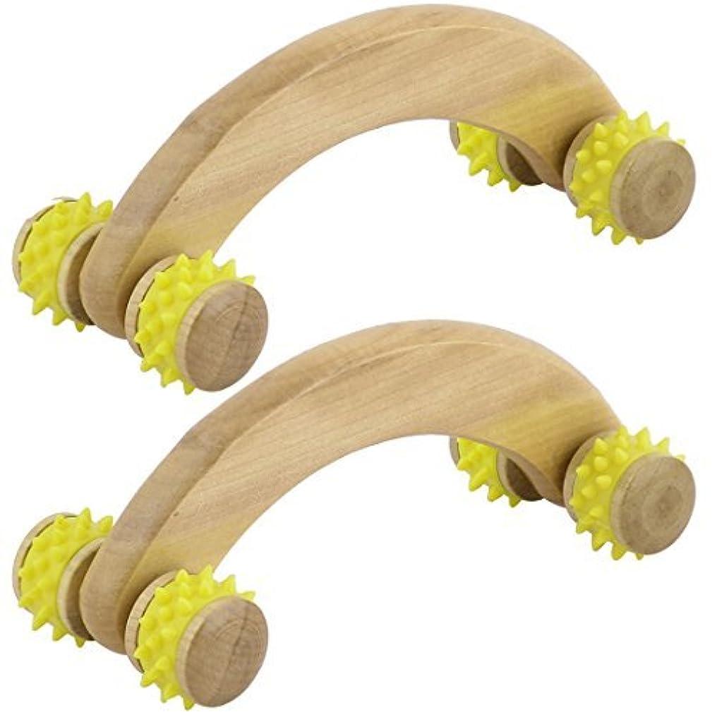 今日不振不従順イエローDealMux木製家庭のストレスリリーフボディネックショルダー筋マッサージローラー2PCS