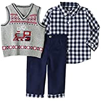 George Baby BOY 3PC Dressy Vest Set,Size 0-3 Months(Navy/Grey/RED/Bow/Train)