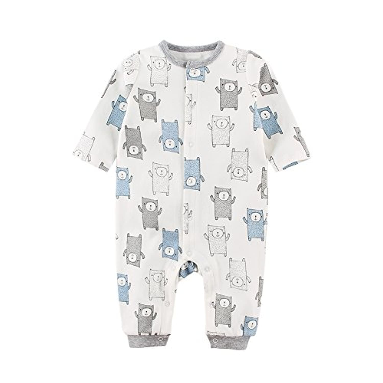 Baby Nest ベビー服 男の子 長袖カバーオール 新生児服 赤ちゃん 長袖ロンパース 秋冬 コットン クマ 3-6M