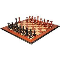 新しいExclusive Stauntonチェスセットエボニー&でAfrican Padauk with Molded Padaukチェスボード – 3.5