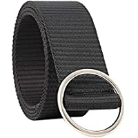 COMVIP Women's Round Alloy Buckle Canvas Casual Solid Jeans Pant Belt