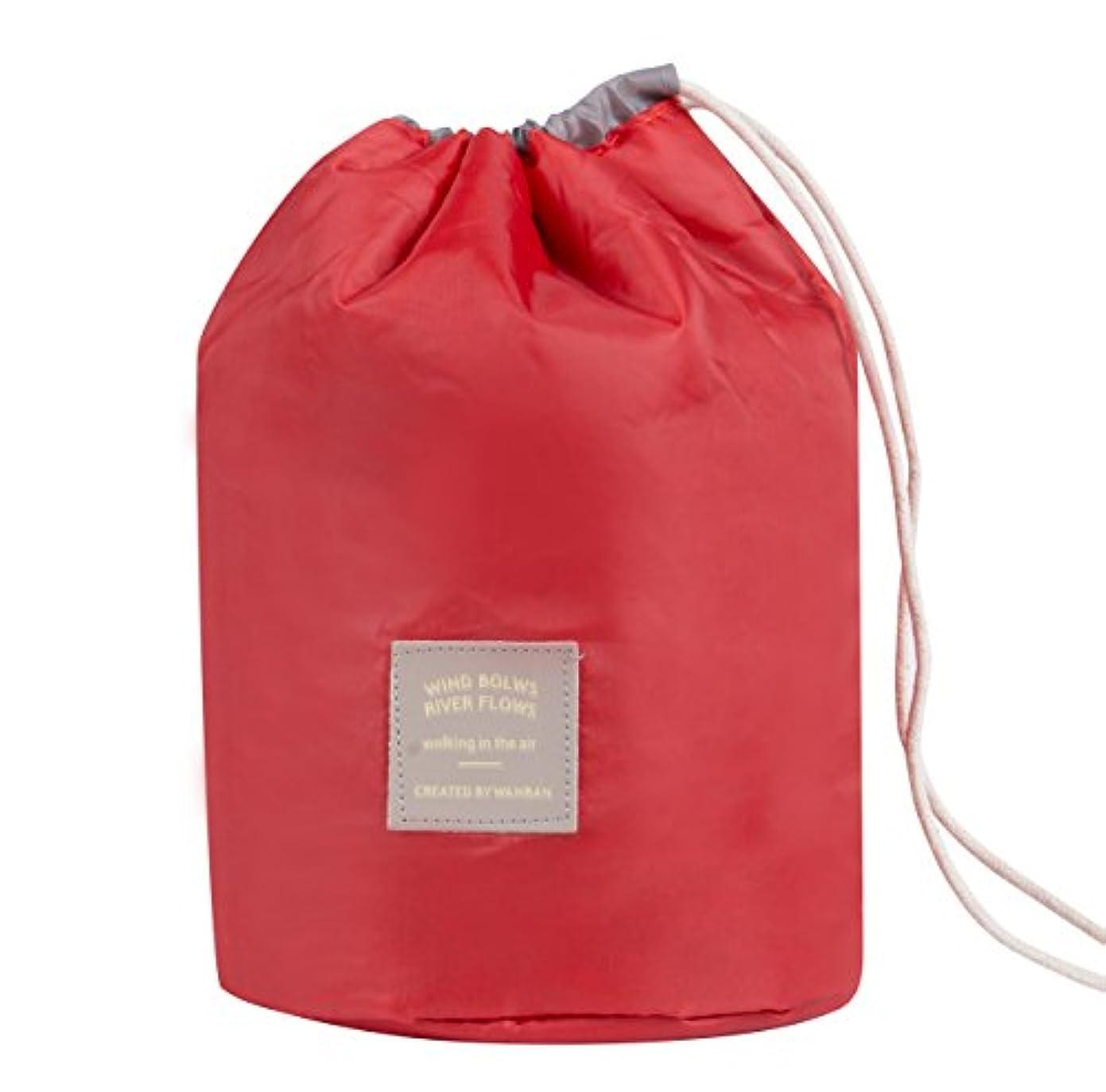 吸収コンバーチブルネックレット巾着袋 大容量 防水 防塵 化粧ポーチ 収納 コップ袋 円筒 ミニポーチ+PVCブラシバッグ付き (レッド)