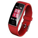 Semiro スマートブレスレット 血圧 心拍計 カラースクリーン スマートウォッチ 防水 最新版 着信 LINE 通知 歩数計 睡眠検測 活動量計 iphone & Android 日本語対応 (レット)