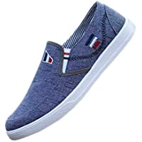 XFentech Mens Slip-on Espadrilles - Casual Flat Old Beijing Cloth Shoes Plimsolls Sneakers Canvas Shoes