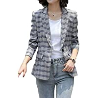 FSSE Womens Blazer Jacket Plaid Check Work Slim Casual Business Formal Suit Coat