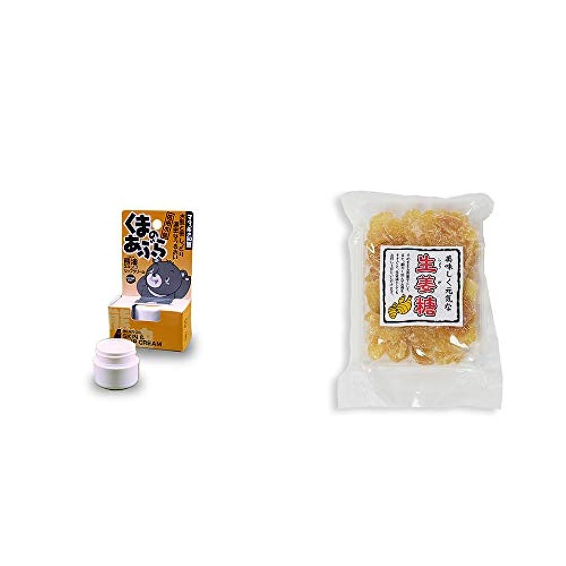 クスクス仮装ドット[2点セット] 信州木曽 くまのあぶら 熊油スキン&リップクリーム(9g)?生姜糖(230g)
