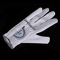 白い通気性のゴルフグローブ左手スーパーファインソフト布サイズ22-26送料無料