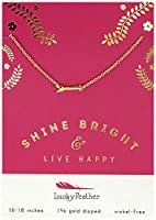 """Lucky Feather Inspirational「ライブ」Happy"""" Shine Bright 14K Gold Dipped矢印チャームネックレス"""