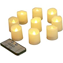 Homemory 9PCS Flameless Flickering Votive Candles, Amber Yellow Light, Battery Operated Realistic LED Tealight with Remote & Timer, Long Battery Life 150+ Hours …
